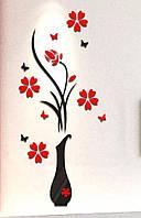 Наклейка ваза с цветам 3D виниловая