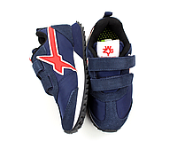 Детская обувь. Кроссовки на липучке для мальчика синий, белый, красный замш, текстиль  Naturino, Италия