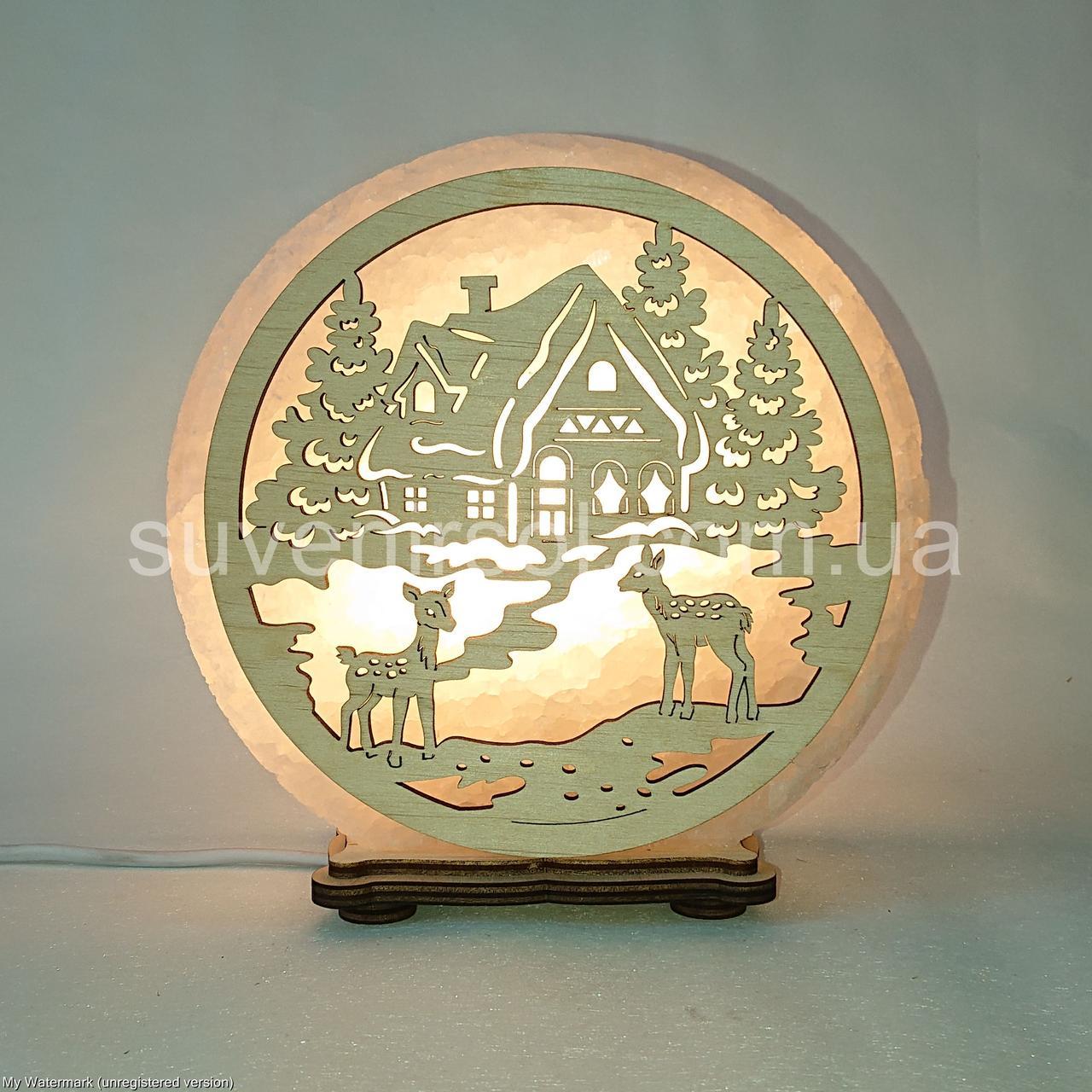 Соляной светильник круглый Домик в лесу