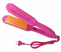 Утюжок гофре для прикорневого объема Gemei GM 1959 гофре розовый цвет маленькая плойка
