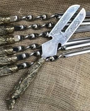 """Широка вилка для зняття м'яса з шампура """"Wildness"""" - оригінальний подарунок синові, фото 2"""