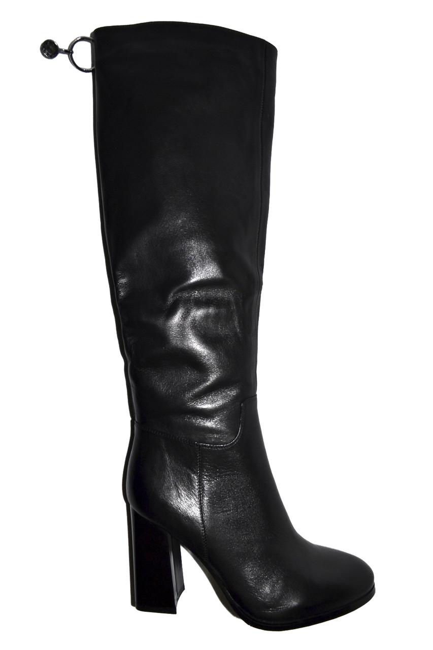 554dc30b8 Сапоги кожаные женские весна осень черные натуральная кожа - Интернет-магазин