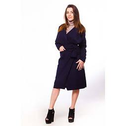 Пальто на запах без подкладки (Темно-синий)