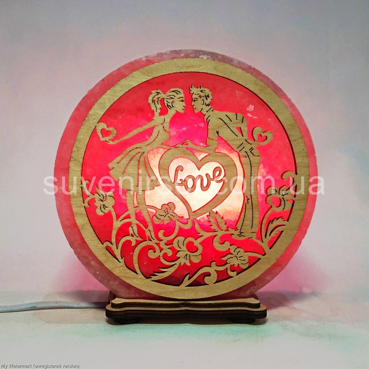 Соляной светильник круглый Пара с сердцами