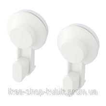 IKEA TISKEN Крючок с присоской, белый, 2 шт