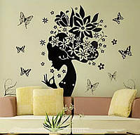 Наклейка на стену  бабочка цветочная фея 70*50 см