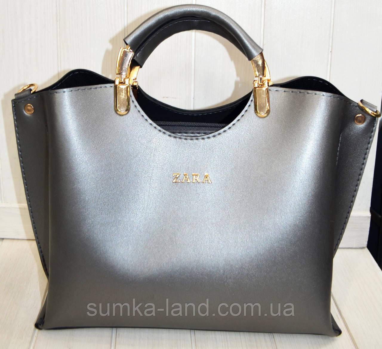 a617c35a27ec Женская сумка стильная Zara графитовая из эко-кожи 27*22 см: продажа ...