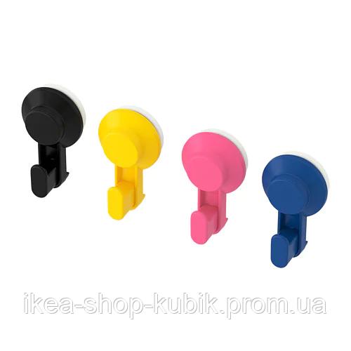 IKEA TISKEN Крючки с присоской, разные цвета, 4 шт.