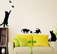 Интерьерная виниловая наклейка на стены кошки