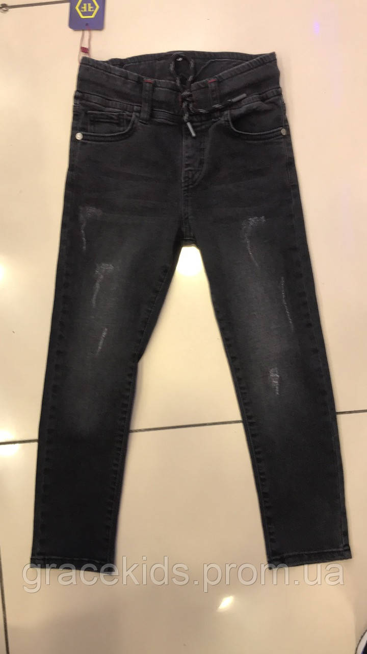 Подростковые модные джинсы для мальчиков черно-серого цвета,разм 9-13лет