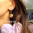 Серебряные серьги Шары с лимонной позолотой - Серьги Шары серебро, фото 2