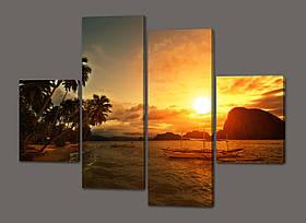 Модульная картина Закат на море(Мальдивы, пальмы, лодки) 120*93 см Код: 511.4к.120