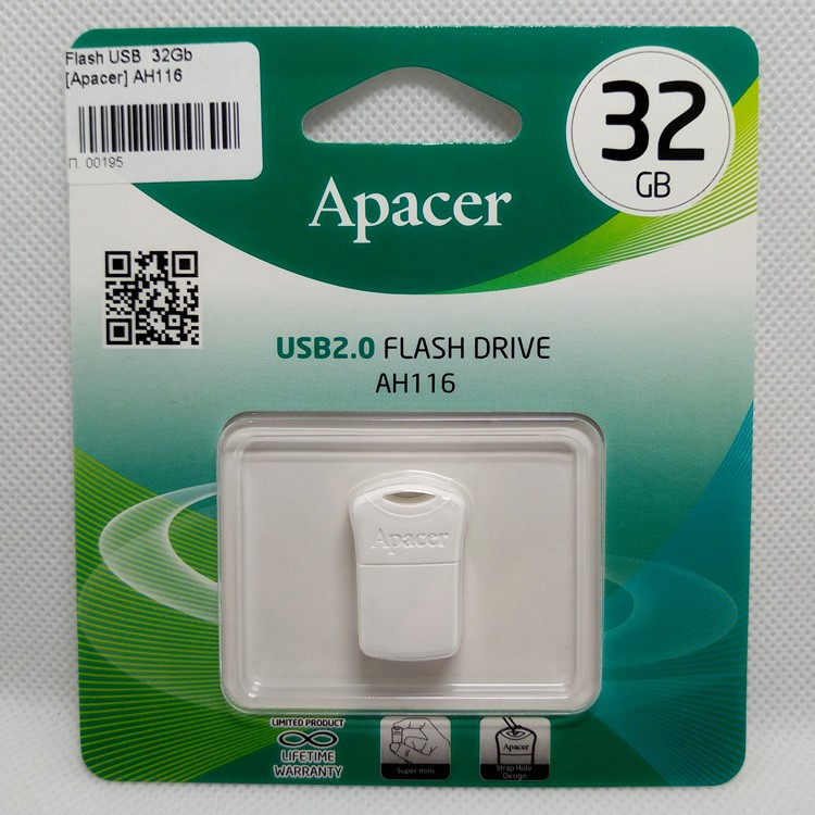 Флешка USB 2.0 mini, 32Gb, Apacer AH116, белая