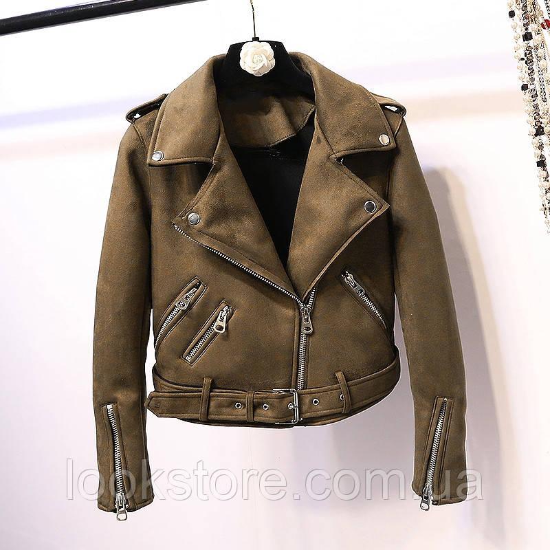 Женская замшевая куртка косуха коричневая S, фото 1