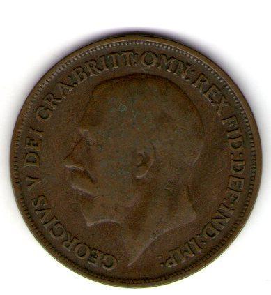Великобритания 1 пенни 1916 год Георг 5 №48