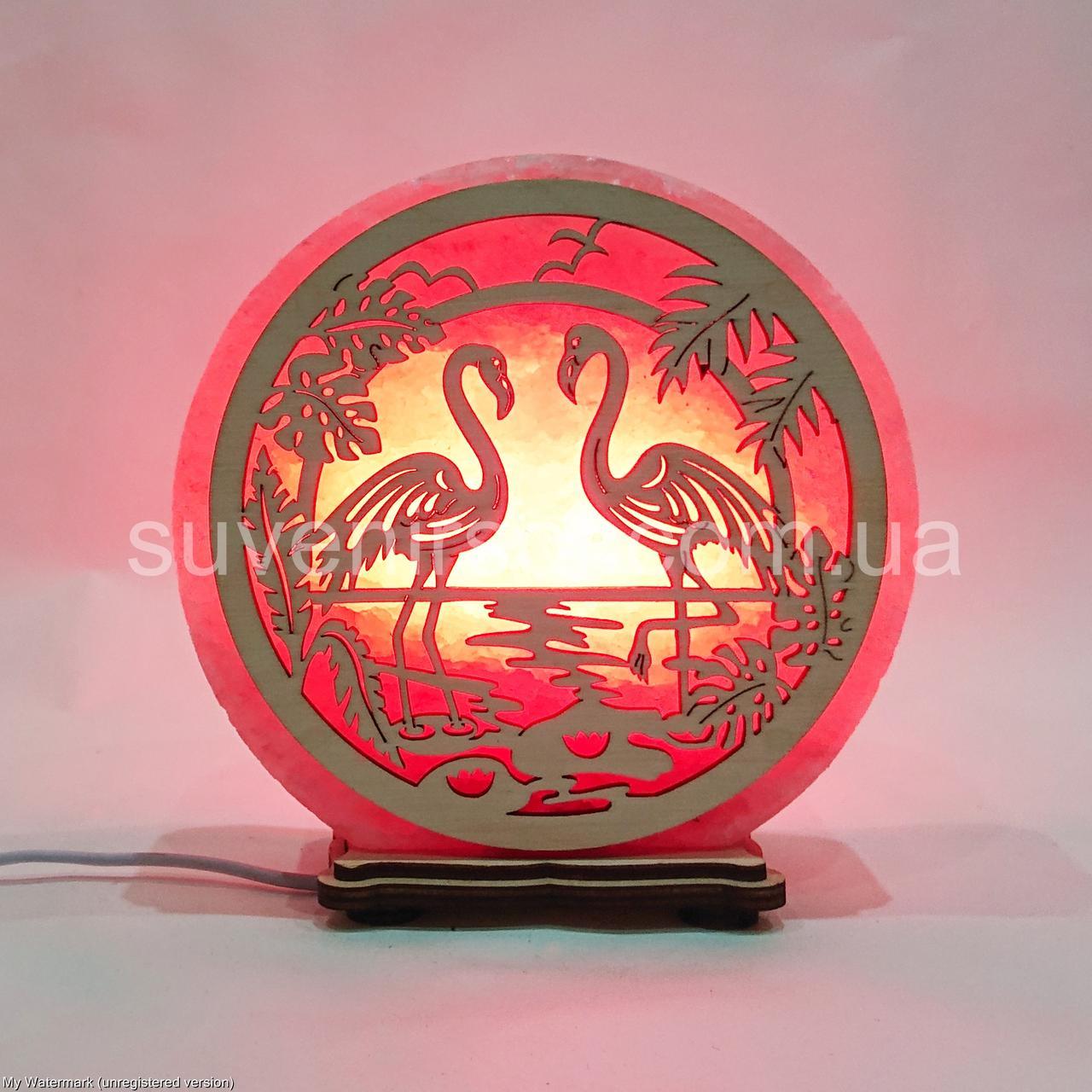 Соляной светильник круглый Фламинго