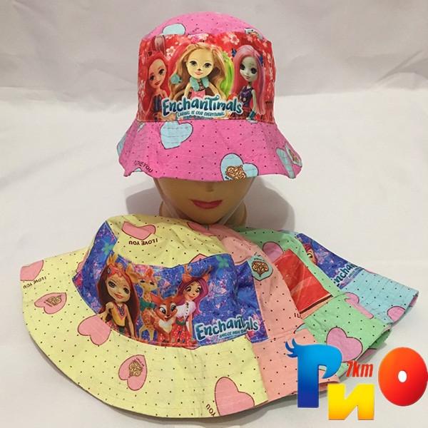 Детская летняя панама (100%  cotton) для девочек  р-р 52-54 (5 ед в уп) NA_2341