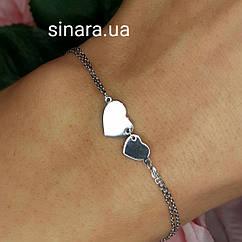 Серебрянй родированный браслет Два сердца - Браслет Сердечки серебро 925 - Браслет с сердцем