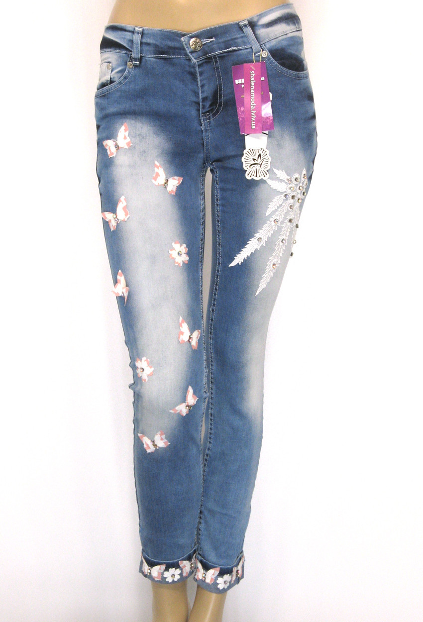 Жіночі джинси з аплікацією і стразами