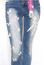 Жіночі джинси з аплікацією і стразами, фото 2