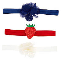 Набор детских повязок на голову белая красная с клубничкой и синяя фирмы Claire's