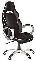 Офисное кресло из кожзама черного цвета с серыми ручками Q-114