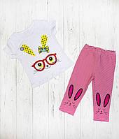 Летний комплект для девочки футболка и бриджи Зайчонок, фото 1