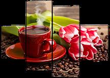 Картина из частей Чашка кофе и тюльпаны 126*93 см Код: W530M