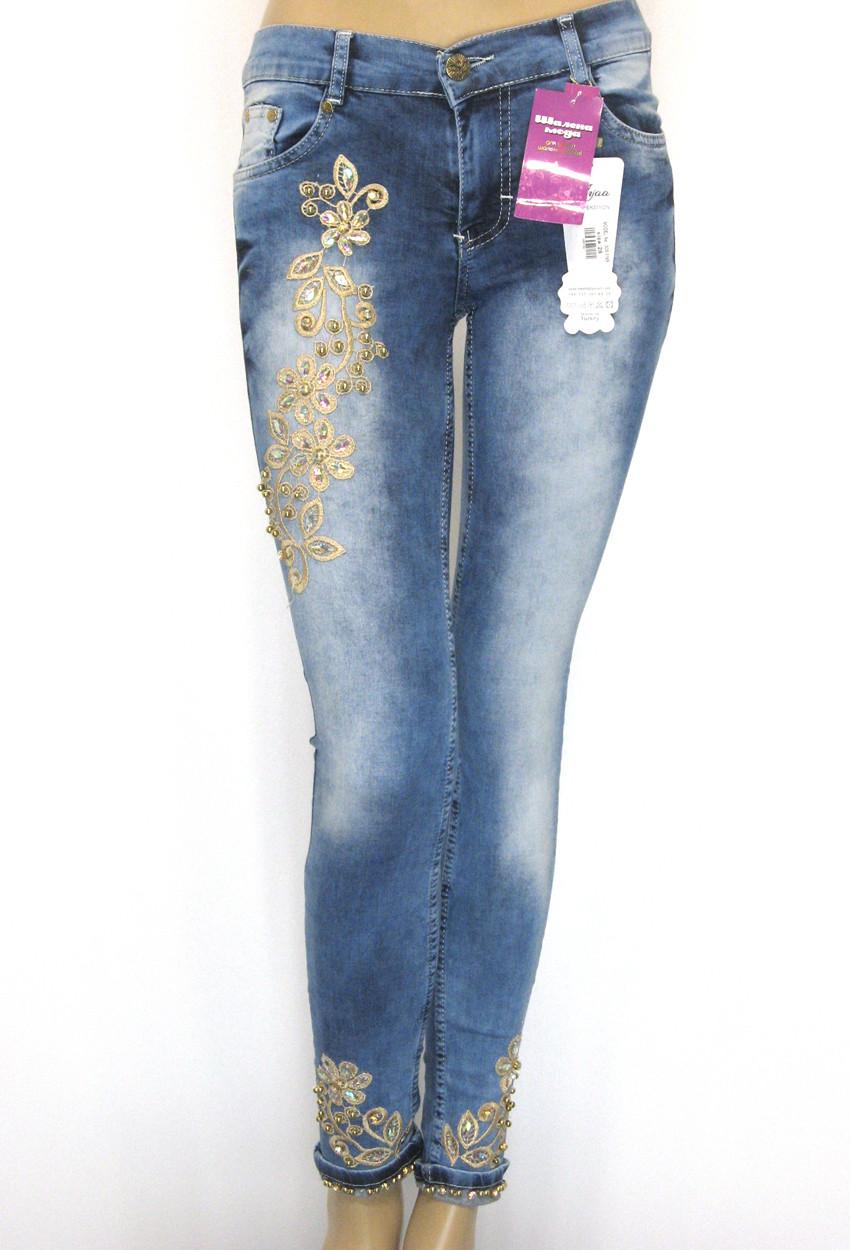 Жіночі джинси з вишивкою,стразами,бісером