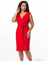 / Размер 50,52,54,56 / большие размеры / Женское платье с коротким рукавом 27716 красный цвет