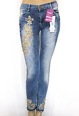 Жіночі джинси з вишивкою,стразами,бісером, фото 2