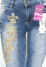 Жіночі джинси з вишивкою,стразами,бісером, фото 3