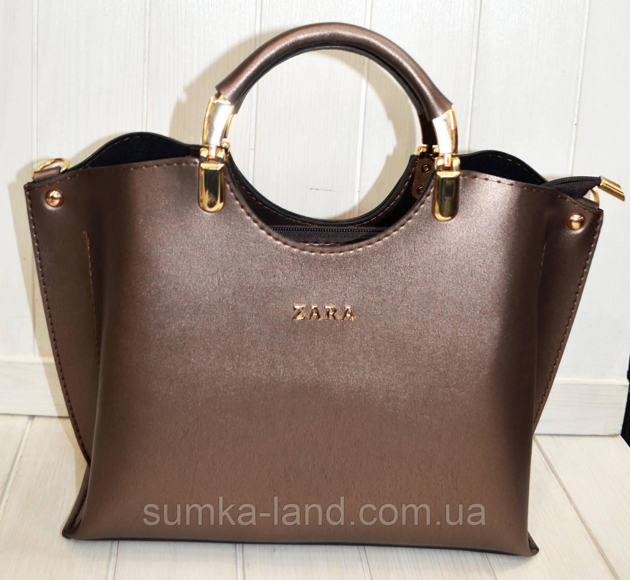 9bba91234dec Женская сумка стильная Zara бронзовая из эко-кожи 27*22 см: продажа ...