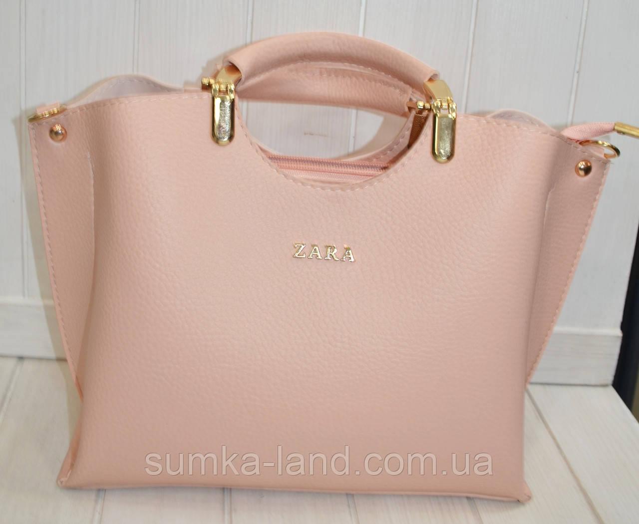 2522a544c0b5 Женская сумка стильная Zara пудровая из эко-кожи 27*22 см: продажа ...
