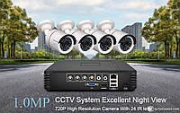 Комплект видеонаблюдения Techage 4CH 4 камеры 720P DVR AHD Ночное Видение. Onvif. XMeye