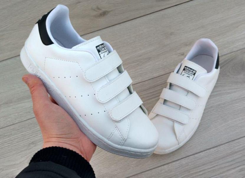 949eb23f4 Распродажа! Женские кроссовки кеды Adidas Stan Smith на липучках белые