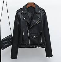 Женская куртка косуха из кожзама черная, фото 1