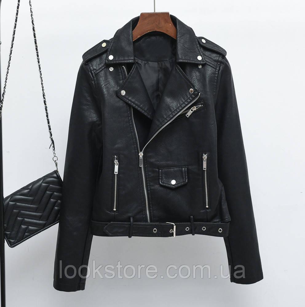 Женская куртка косуха из кожзама черная