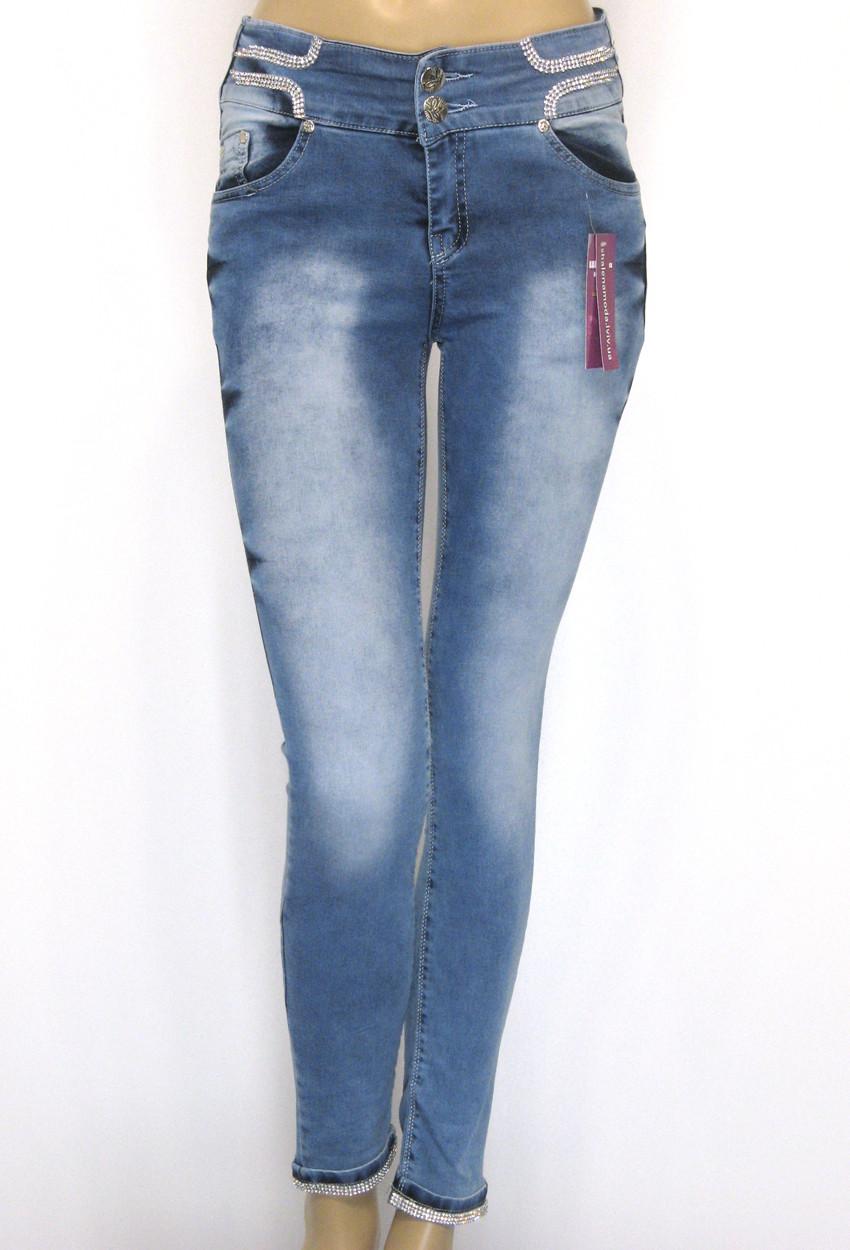 Жіночі джинси занижена посадка з стразами