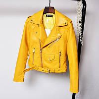 Женская куртка косуха из кожзама желтая L, фото 1