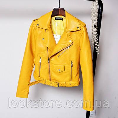 Женская куртка косуха из кожзама желтая L