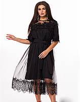 / Размер 48-52, 54-58 / большие размеры / Женское нарядное платье ниже колена с кружевом 27702 цвет черный