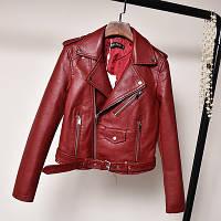 Женская куртка косуха из кожзама бордовая L, фото 1
