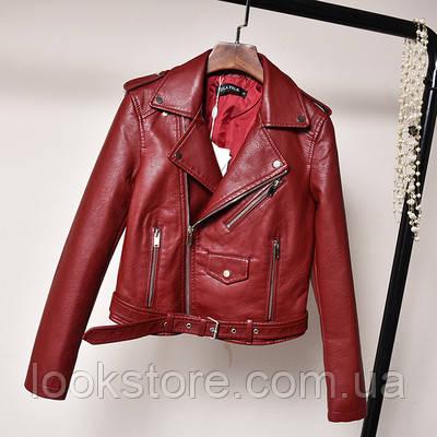 Женская куртка косуха из кожзама бордовая L