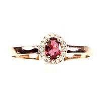 Кольцо Розовый Турмалин (Бразилия). Размер 19,5. Серебро 925 в позолоте 14 карат, фото 1