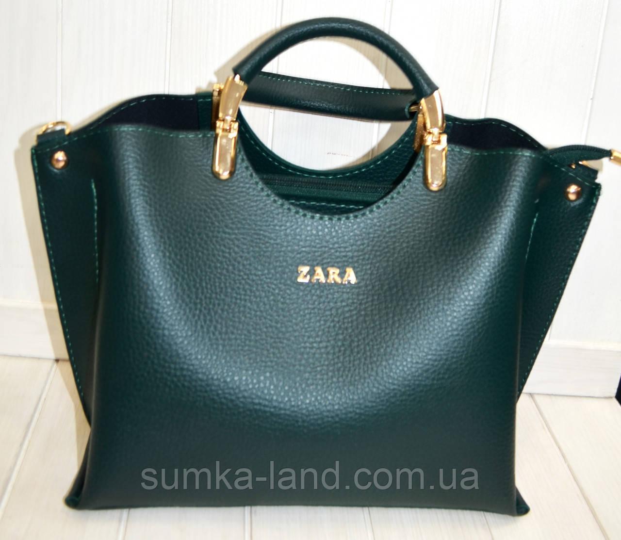 96fc753c8894 Женская сумка стильная Zara зеленая из эко-кожи 27*22 см: продажа ...