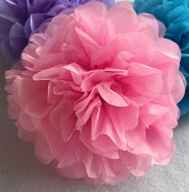 Паперові помпони з тишею 35 см, арт. РОМ-35 Рожевий