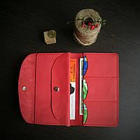"""Тревел-кейс кошелек, портмоне """"break"""" ручної роботи, натуральна шкіра, на кнопці"""