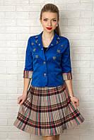 Яркий женский пиджак с коротким рукавом 940 Синий