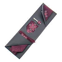 Вышитый галстук бордового цвета с платком и зажимом №865